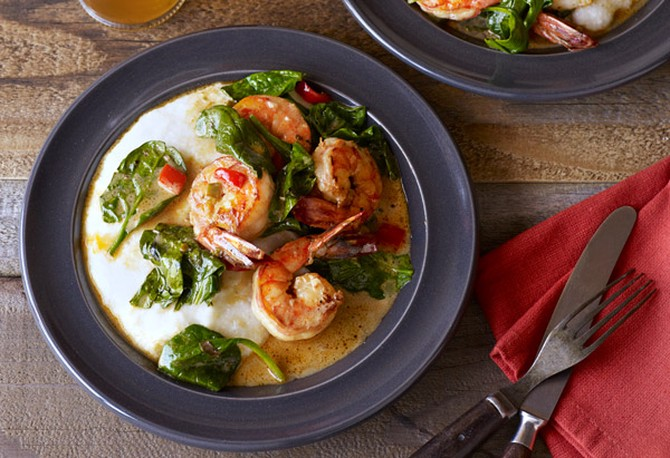 creole shrimp with cheddar grits