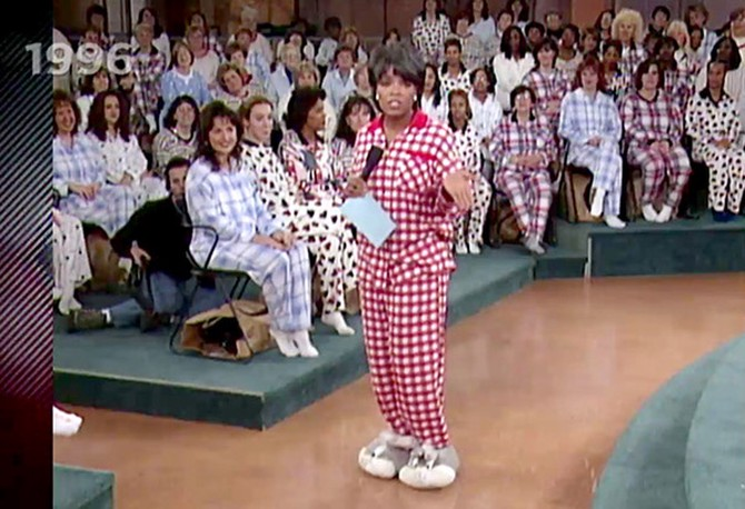 Oprah Winfrey in pajamas and Bugs Bunny slippers
