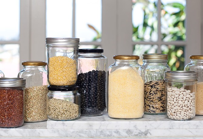 Jars of dried grains and beans
