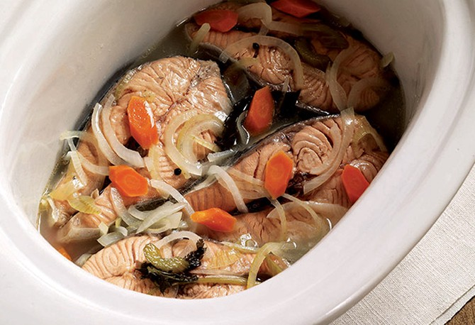 Poached Salmon in Court-Bouillon