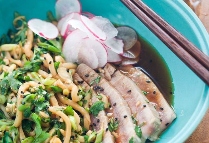 Tuna and Udon Noodle with Ginger Dressing