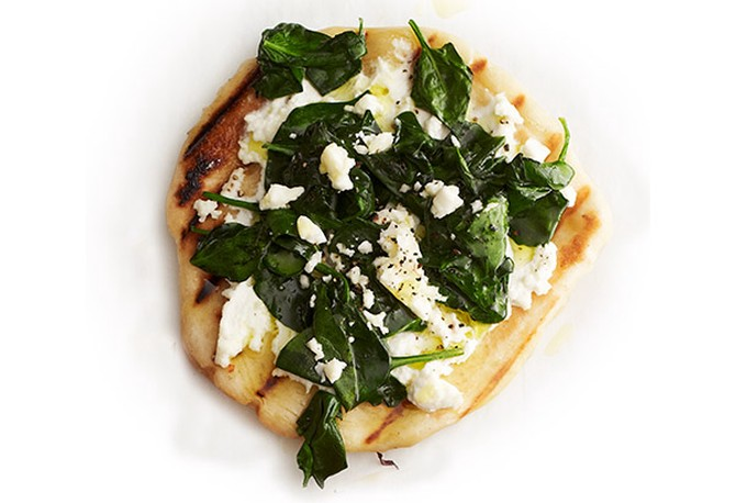Spinach, Ricotta and Feta Grilled Pizza