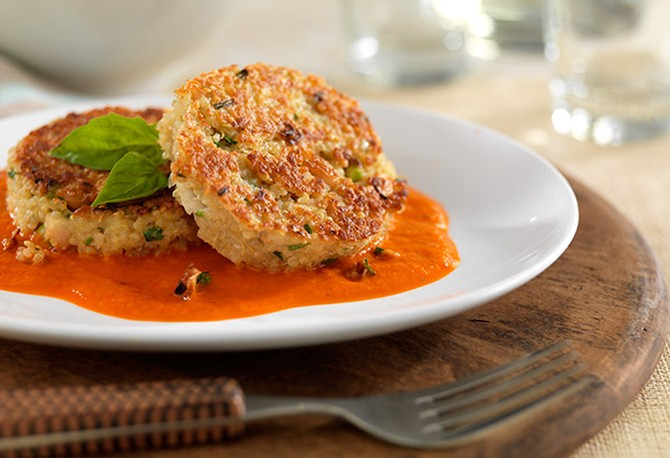 Quinoa Bean Cakes with Roasted Red Pepper Sauce
