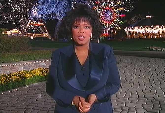 Oprah outside Michael Jackson's Neverland Ranch