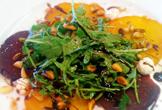 Cristina Ferrare's recipe for Roasted Beet Salad with Goat Cheese and Arugula