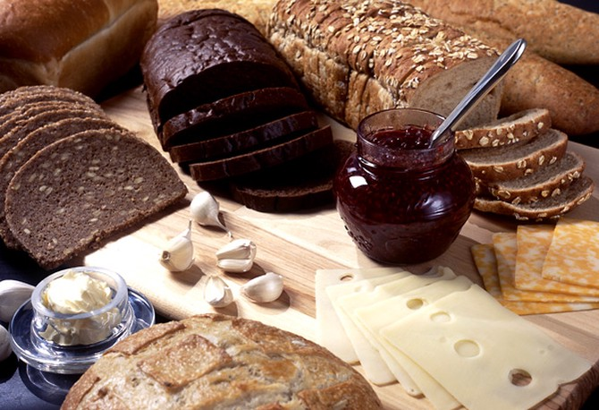 Assortment of rye bread and spread