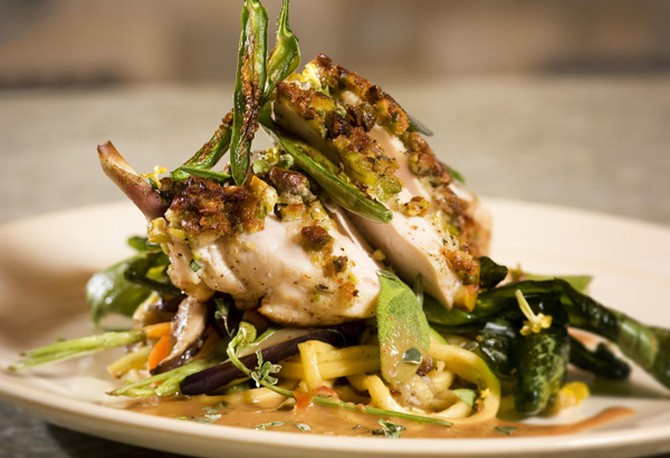 Pistachio-Crusted Chicken with Coconut Chili Ginger Sauce