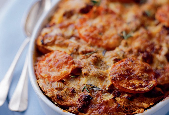 Country Strata with Sausage, Fontina Cheese and Rosemary brunch recipe