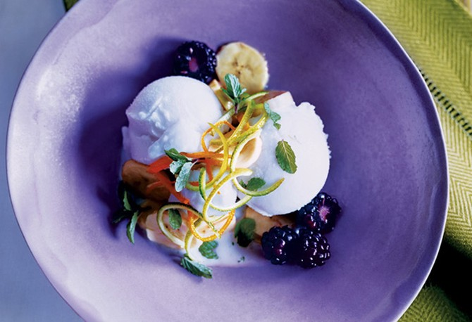 Bananas in Lime Juice with Coconut Sorbet and Berries