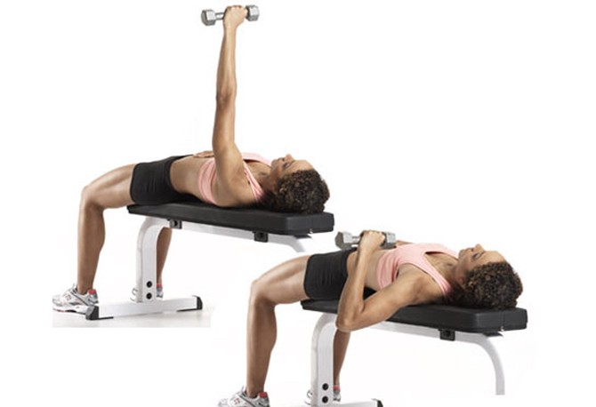 Single-arm dumbbell chest press