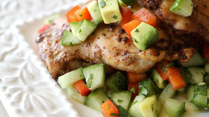 Spicy Chicken Thighs with Cucumber-Avocado Salsa