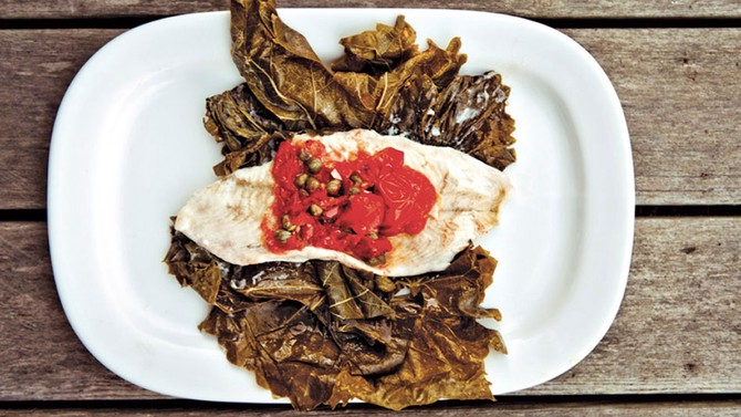 Flounder in Grape Leaves