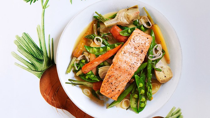 Roasted Salmon with Spring Vegetables
