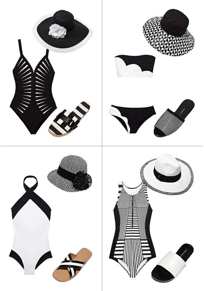 black and white swimsuits