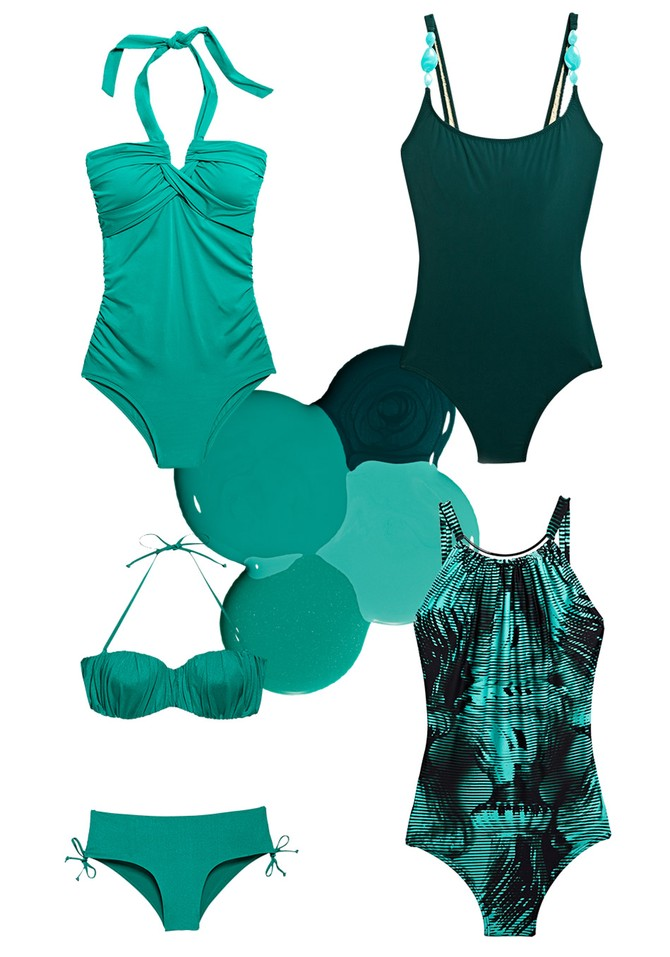 green swimsuits