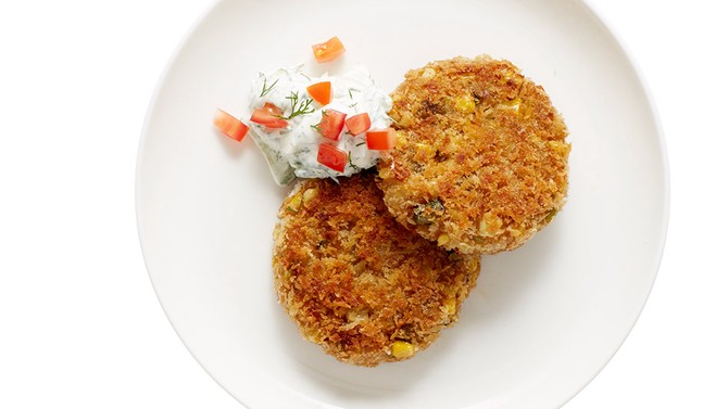 Corn Cakes with Cucumber Sour Cream
