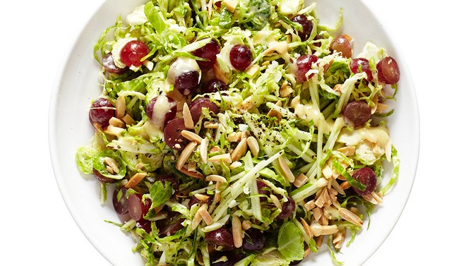 Brussels Sprouts Slaw with Grapes