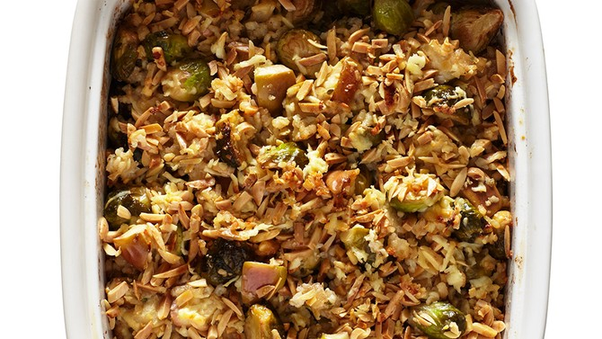Cheddar and Brussels Sprouts Rice Bake