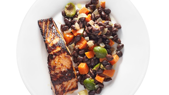 Honey-Glazed Salmon with Black Bean Ragout