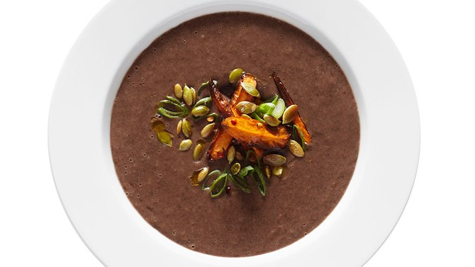 Black Bean Soup with Chili-Lime Sweet Potatoes