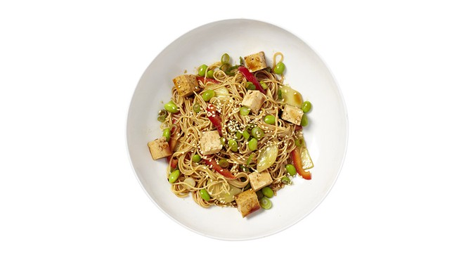 Edamame, Red Pepper and Tofu Sesame Noodles