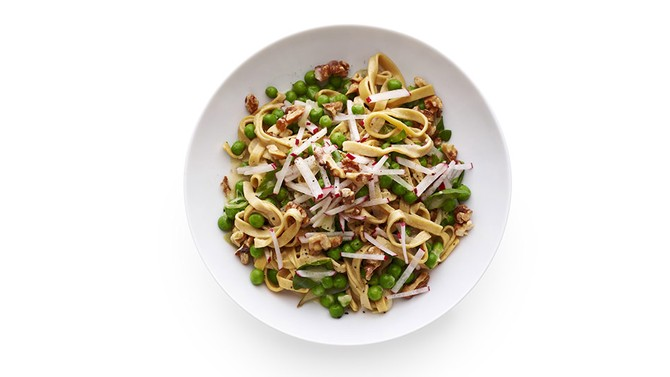 Fettuccine with Peas, Radishes and Basil