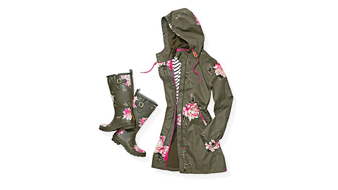 Joules Raina Parka and Printed Wellies