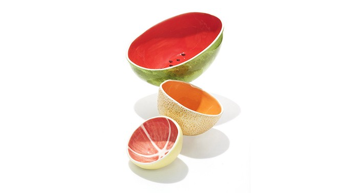 Watermelon Serving Bowl, Tall Cantaloupe Bowl, and Grapefruit Bowl