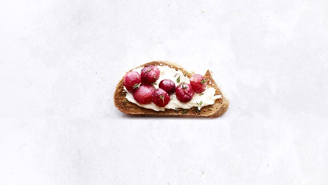 Pan-Roasted Grape and Mascarpone Toast