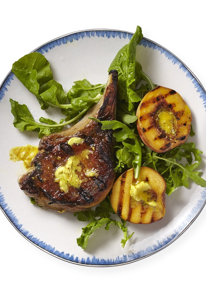 Curry Butter-Glazed Pork Chops and Peaches