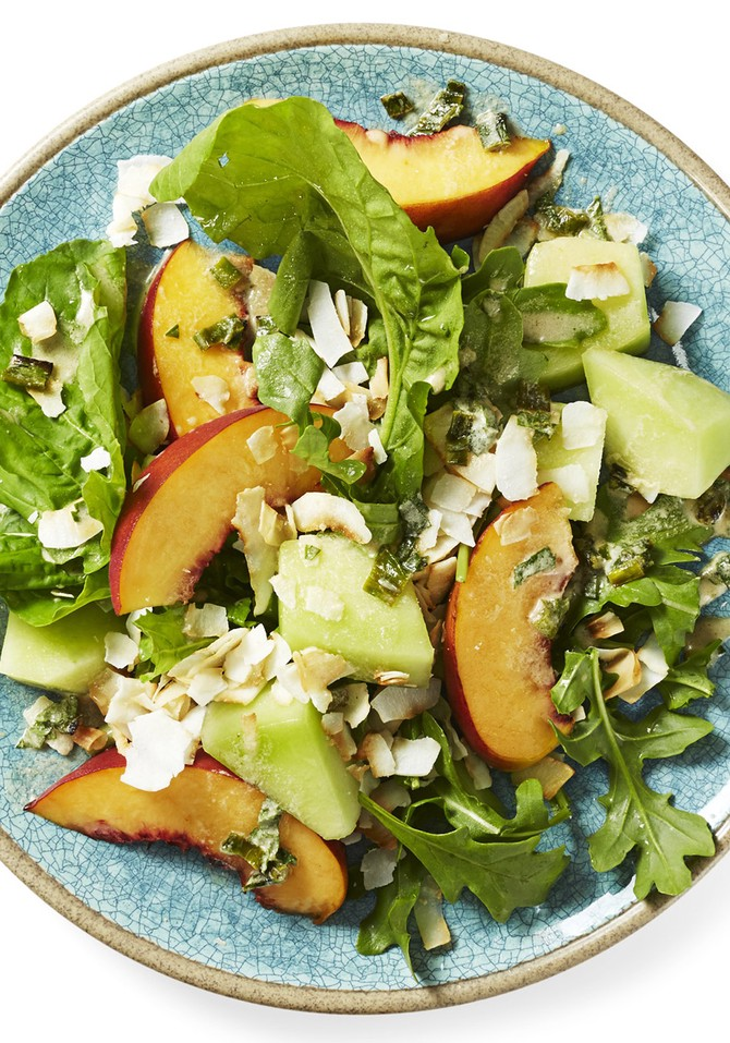 Peach and Arugula Salad with Coconut-Lemon Dressing