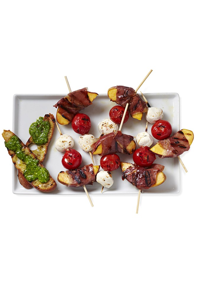 Prosciutto-Wrapped Peaches, Tomatoes and Bocconcini with Pesto