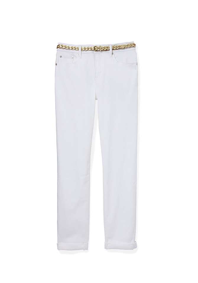 Roll-Cuff White Jeans with Gold Belt