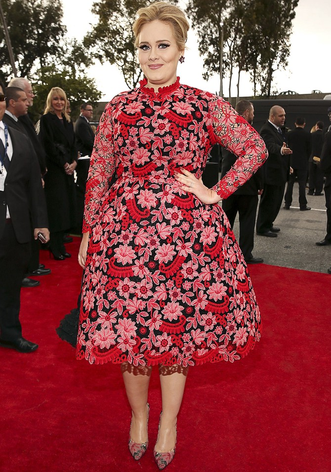 adele red floral dress