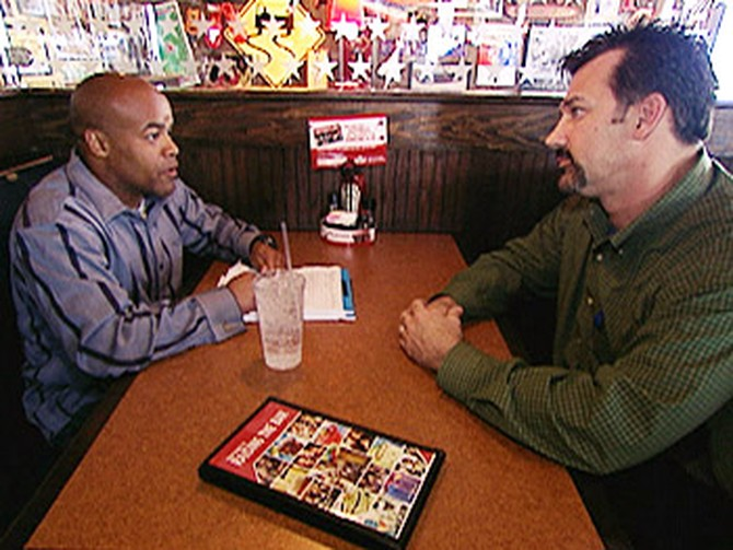 Angelo meets with Jake, the T.G.I. Friday's manager.
