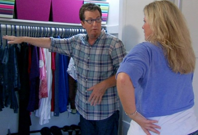 Jenni Harvey and Peter Walsh examine her decluttered closet