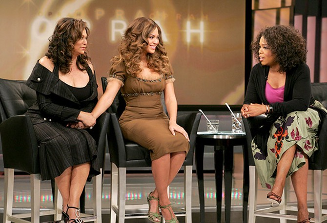 Beyonce with her mom, Tina, and Oprah Winfrey