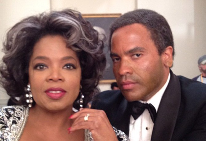Oprah Winfrey and Lenny Kravitz