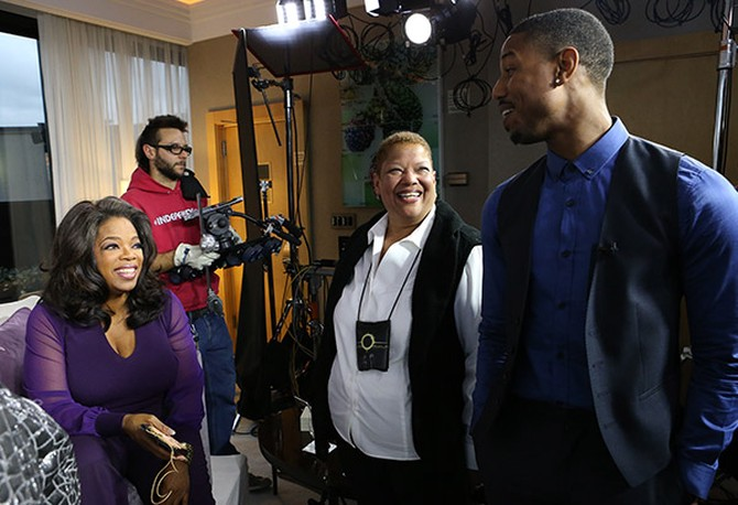 "Oprah Winfrey chatting with ""Fruitvale Station"" star Michael B. Jordan and his aunt, Jeanette Marable"