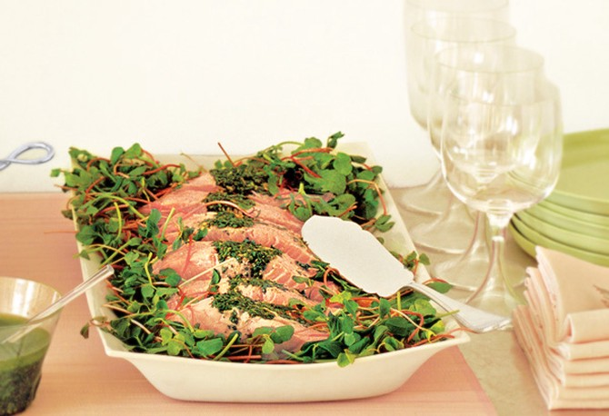 Poached salmon fillets