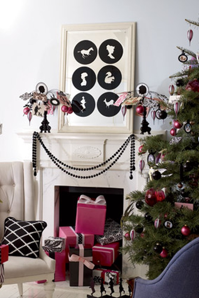 Decorative mantel and Christmas tree
