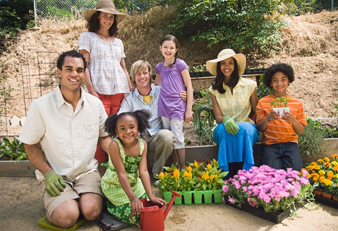Family ready to plant garden