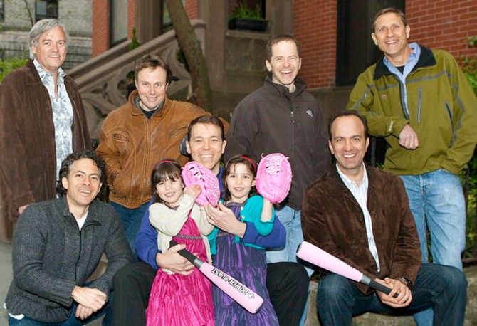 The Council of Dads—top row, left to right: Ben Edwards, David Black, Max Stier, Jeff Shumlin; bottom row, left to right: Joshua Ramo, Tybee Feiler, Bruce Feiler, Eden Feiler, Ben Sherwood
