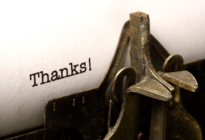 Typewriter that says thanks