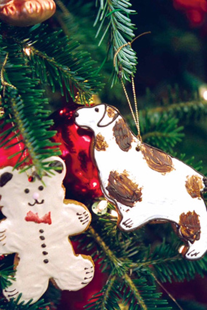 Handmade ornaments on one of the many White House Christmas trees