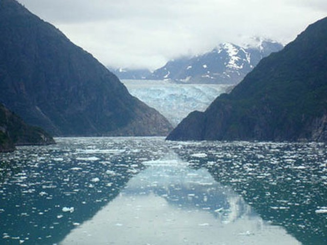 Glaciers' reflections on water