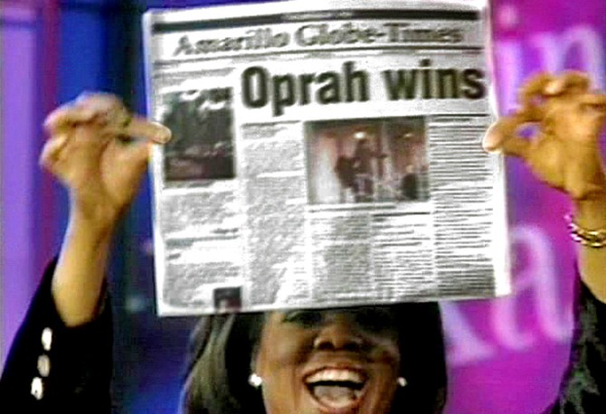 "The headline says ""Oprah Wins"""