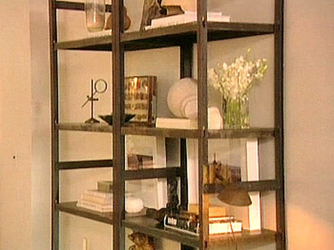 Industrial shelves in Nate Berkus's living room