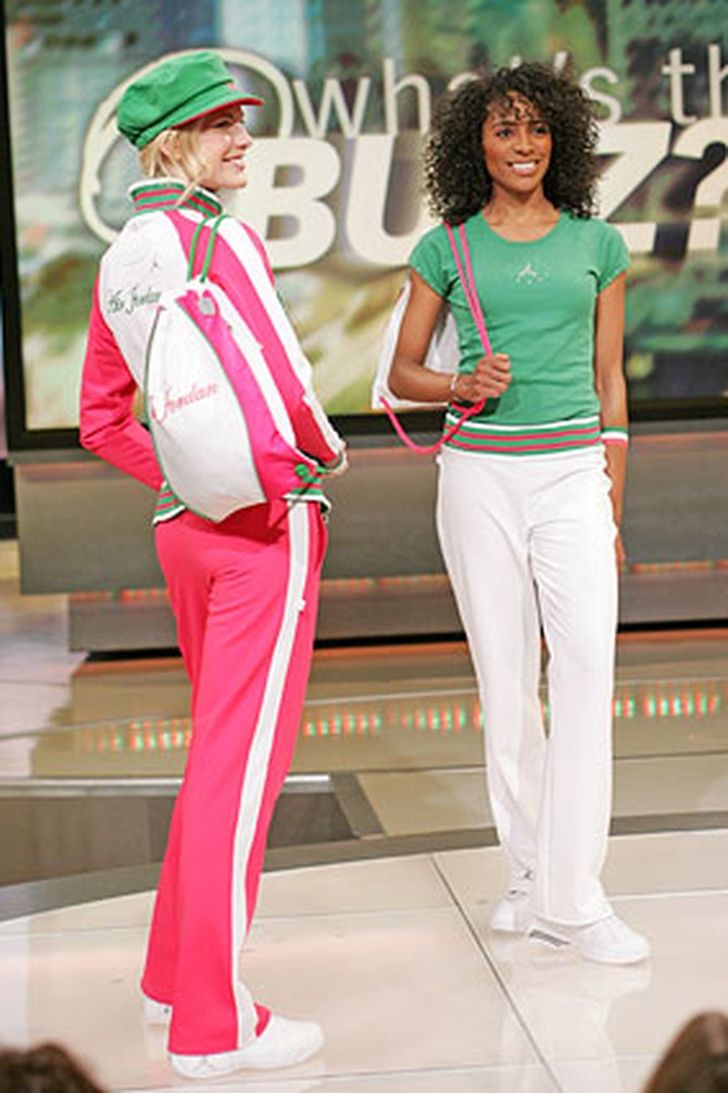 Green and pink fashions from the Jordan Women's Collection