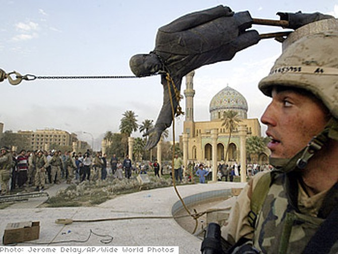 A statue of Saddam is toppled in Baghdad on April 9, 2003.